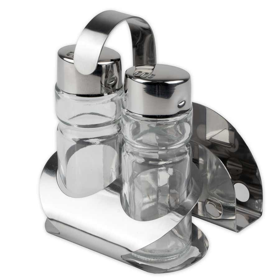 Menage Set Salzstreuer Pfefferstreuer Salz Pfeffer Essig Öl Senf Glas Edelstahl